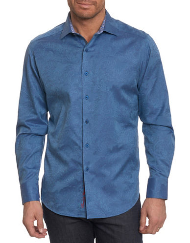 Robert Graham Egyptian Cotton Sport Shirt-BLUE-X-Large