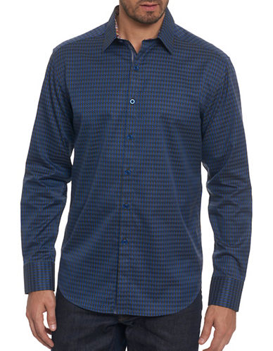 Robert Graham Geometric Print Sport Shirt-GREEN-Large