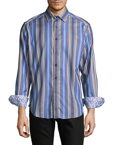 Robert Graham Print and Stripes Combo Shirt-BLUE-XX-Large