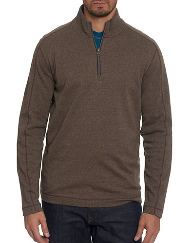 Robert Graham Half-Zip Pullover-BEIGE-Large