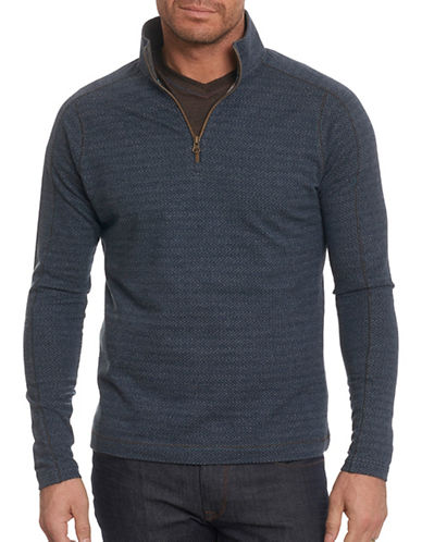 Robert Graham Chevron Quarter Zip Pullover-DARK BLUE-Medium