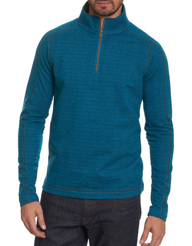 Robert Graham Chevron Quarter Zip Pullover-TEAL-Large