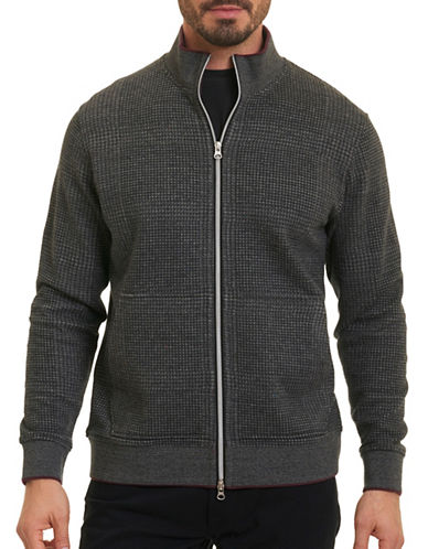 Robert Graham Zip Front Sweater-CHARCOAL-Medium