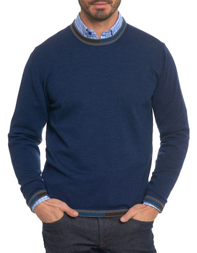 Robert Graham Wool Crew Sweater-NAVY-X-Large