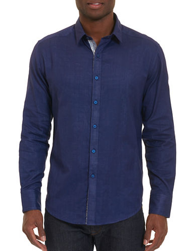Robert Graham Amin Cotton Shirt-BLUE-Medium