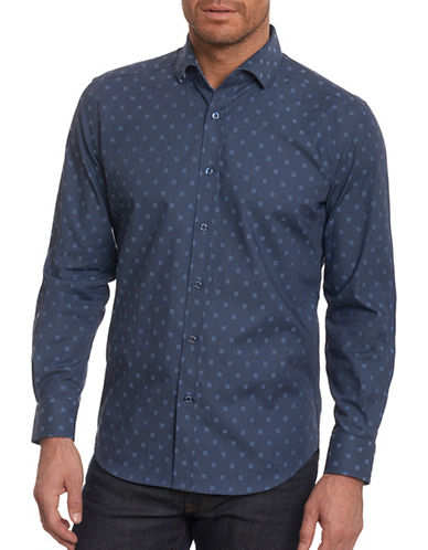 Robert Graham Square Print Sport Shirt-NAVY-Large