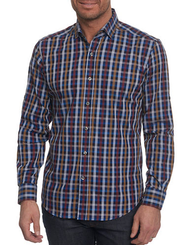 Robert Graham Checkered Sport Shirt-BLUE-XX-Large