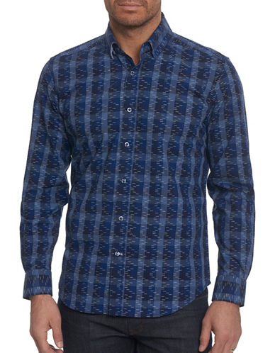 Robert Graham Plaid Sport Shirt-NAVY-X-Large