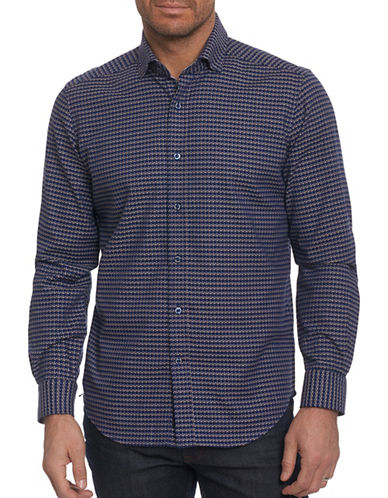 Robert Graham Houndstooth Sport Shirt-BLUE-Large