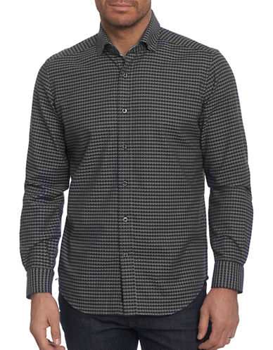 Robert Graham Houndstooth Sport Shirt-BLACK-X-Large