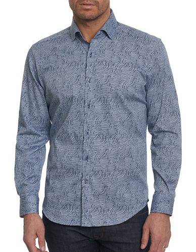 Robert Graham Printed Sport Shirt-BLUE-Large