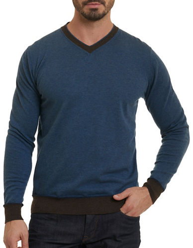 Robert Graham Wool  V-Neck Sweater-BLUE-Large