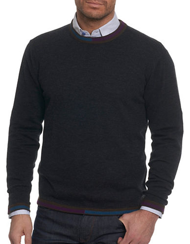 Robert Graham Wool Crew Sweater-BLACK-X-Large
