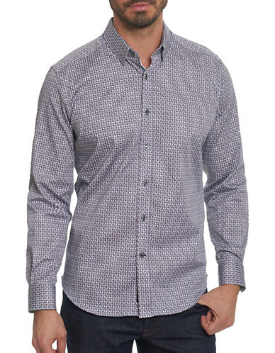 Robert Graham Point Collar Sport Shirt-BLACK-X-Large