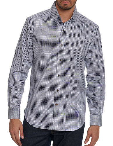 Robert Graham Square Print Sport Shirt-NAVY-X-Large