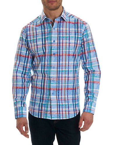 Robert Graham Plaid Cotton Sport Shirt-BLUE-Large