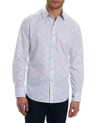 Robert Graham Stripe Cotton Sport Shirt-WHITE-X-Large