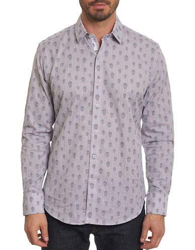 Robert Graham Skull Print Sport Shirt-GREY-Medium