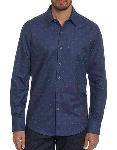 Robert Graham Embroidered Paisley Sport Shirt-BLUE-XX-Large