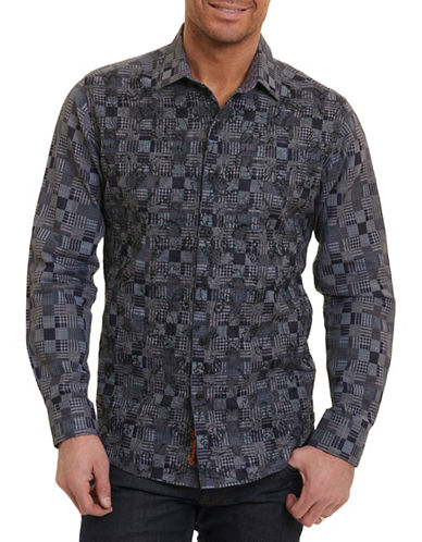 Robert Graham Quilt Print Sport Shirt-GREY-XX-Large