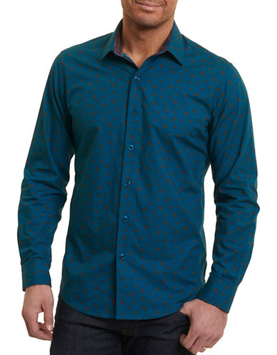 Robert Graham Paisley Print Sport Shirt-BLUE-Small