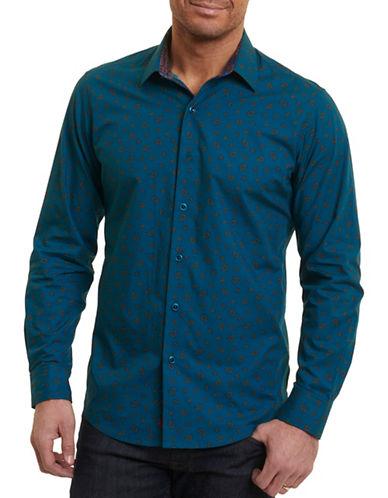 Robert Graham Paisley Print Sport Shirt-BLUE-XX-Large