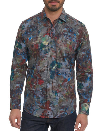 Robert Graham Layered Houndstooth Sport Shirt-MULTI-COLOURED-Large