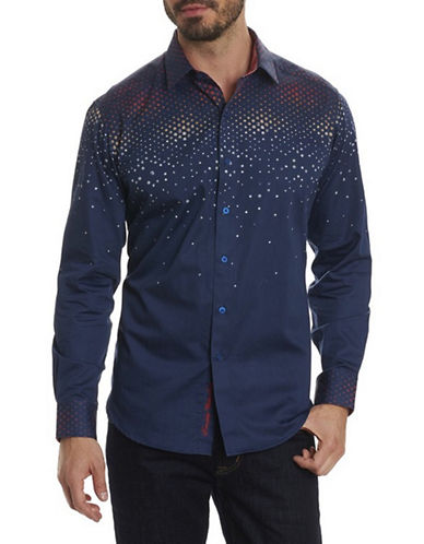 Robert Graham Cotton Sport Shirt-NAVY-Large
