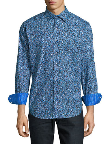 Robert Graham Congo Long-Sleeve Cotton Sportshirt-BLUE-Large
