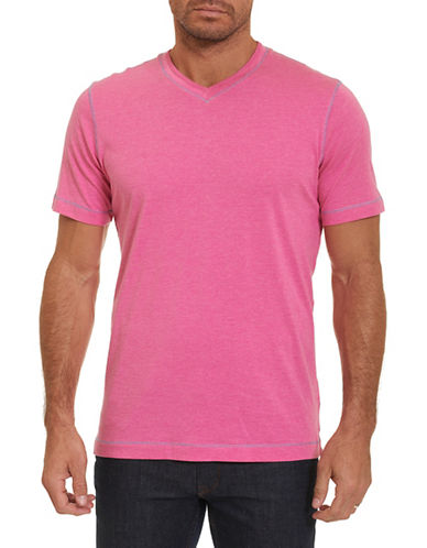 Robert Graham V-Neck T-Shirt-PINK-Medium 89775695_PINK_Medium