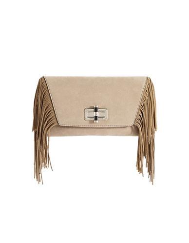 Diane Von Furstenberg Boho Fringe Leather Clutch-SAND-One Size