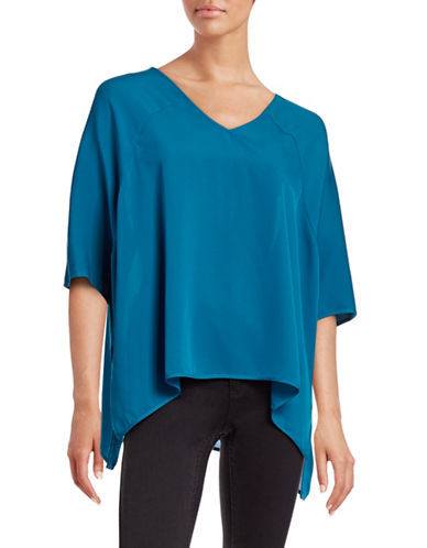 Diane Von Furstenberg Elsi Silk Blouse-BLUE-Medium