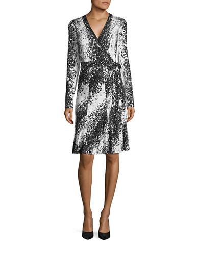 Diane Von Furstenberg Lilyann Silk Wrap Dress-BLACK-10