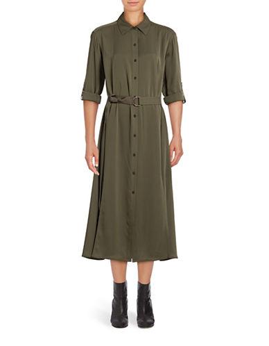 Diane Von Furstenberg Clarise Stretch Silk Shirt Dress-GREEN