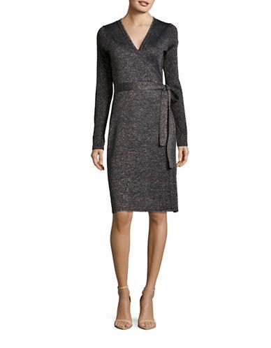 Diane Von Furstenberg Evelyn Ribbed Wool-Blend Wrap Dress-