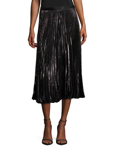 Diane Von Furstenberg Heavyn Metallic Pleated Midi Skirt-