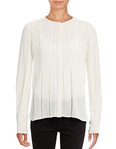 Diane Von Furstenberg Vicky Silk Pleat-Front Blouse-WHITE-10