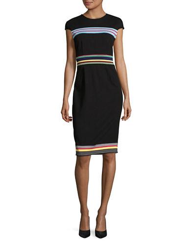 Diane Von Furstenberg Hadlie Stripe Sheath Dress-BLACK-4
