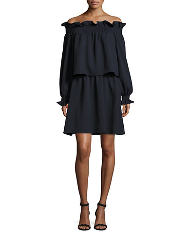Diane Von Furstenberg Georgie Boho Popover Dress-BLUE-Large