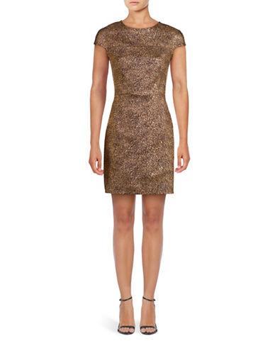 Diane Von Furstenberg Hadlie Metallic Mini Dress-GOLD-4