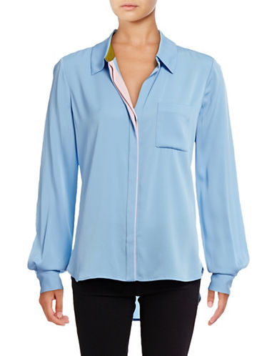 Diane Von Furstenberg Carter Silk-Blend Blouse-BLUE-2