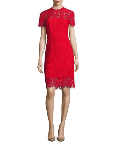 Diane Von Furstenberg Alma Illusion Lace Sheath Dress-RED-14