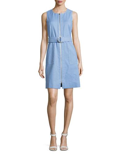 Diane Von Furstenberg Zip Front Sheath Dress-BLUE-4