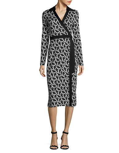 Diane Von Furstenberg Crackle Print D-Ring Silk Wrap Dress-BLACK-8