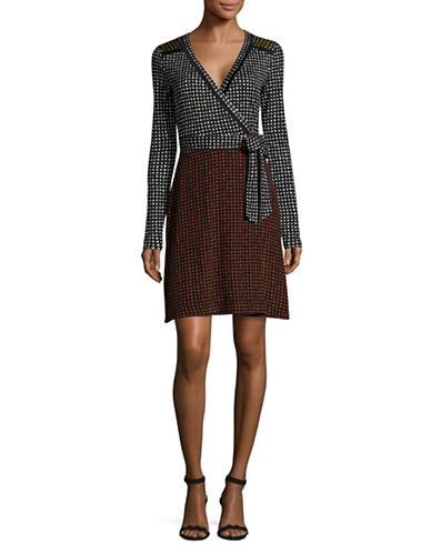 Diane Von Furstenberg Long Sleeve Mixed Jersey Spot Wrap Dress-BLACK MULTI-6