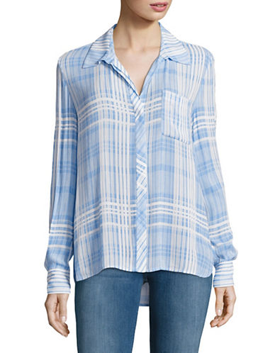 Diane Von Furstenberg Carter Plaid Blouse-BLUE-4