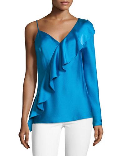 Diane Von Furstenberg Asymmetric Ruffle-Front Blouse-BLUE-6