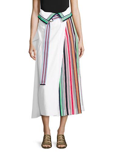 Diane Von Furstenberg Side Pleat Ribbon Skirt-WHITE-4