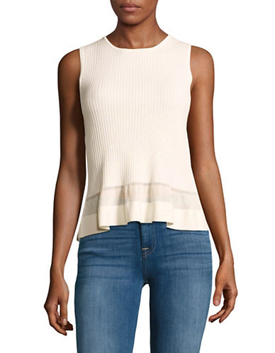 Diane Von Furstenberg Ribbed Sleeveless Peplum Top 89252054