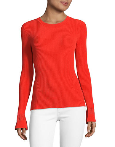 Diane Von Furstenberg Bell Sleeve Crew Sweater-RED-Large